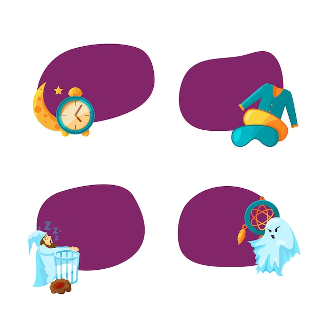 Aantal stickers met plaats voor tekst met cartoon slaap elementen illustratie Premium Vector