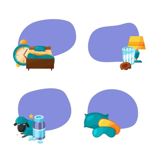 Aantal stickers met plaats voor tekst met cartoon slaap elementen. Premium Vector