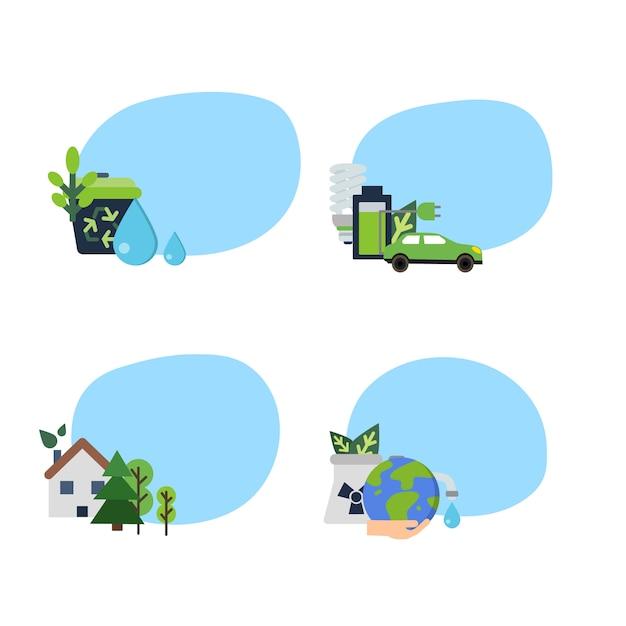 Aantal stickers met plaats voor tekst met ecologie plat pictogrammen Premium Vector