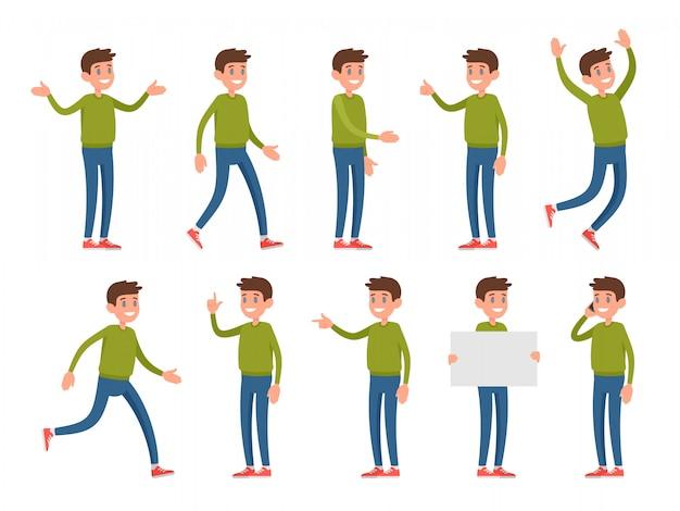 Aantal tekens in verschillende poses en gebaren. Premium Vector