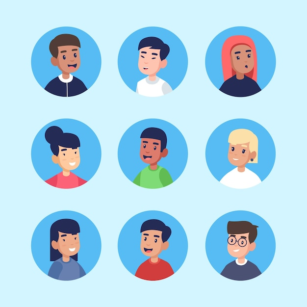 Aantal verschillende mensen avatars Gratis Vector