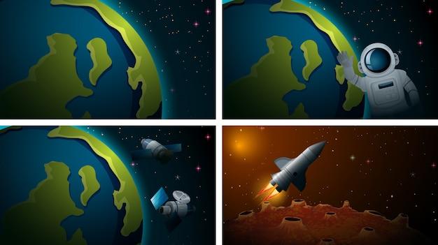 Aantal verschillende ruimtescènes Gratis Vector