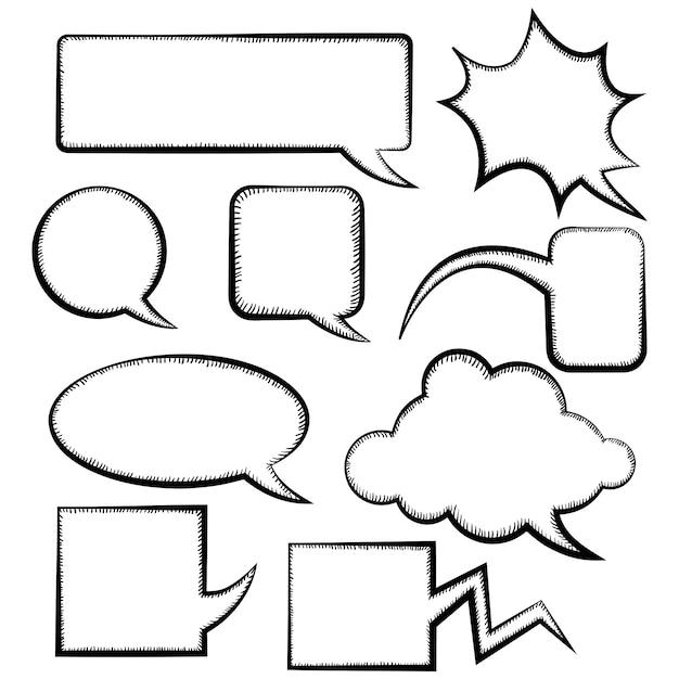 Aantal verschillende tekstballon sjablonen doodle stijl Premium Vector