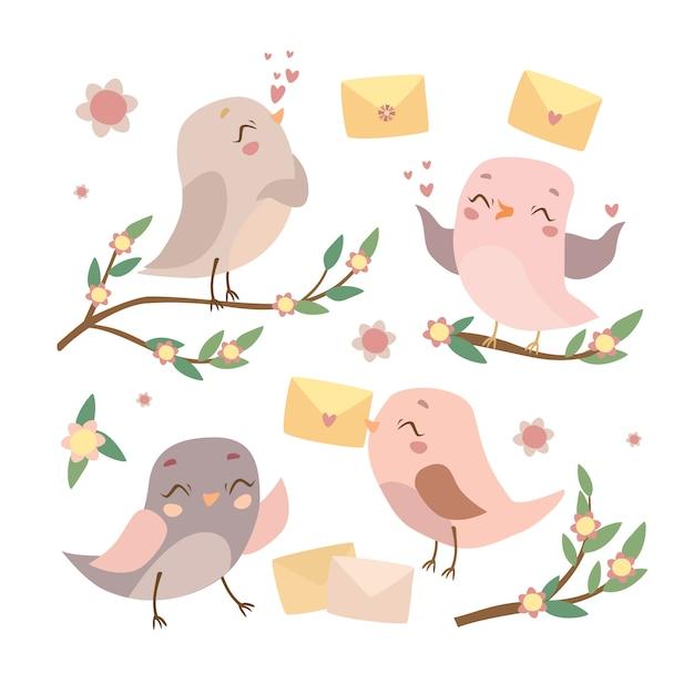 Aantal vogels op de takken Gratis Vector