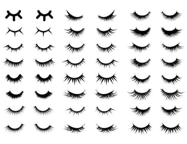 Aantal vrouwelijke wimpers. verzameling van valse wimpers. illustratie van gesloten ogen Premium Vector