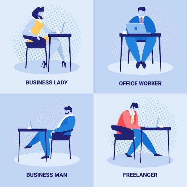 Aantal zakelijke werknemers, mensen uit het bedrijfsleven baan Premium Vector