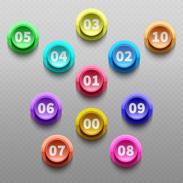 Aantalknopen, 3d richtende kogels geïsoleerde vectorreeks. 3d-punt knop met nummer illustratie Premium Vector