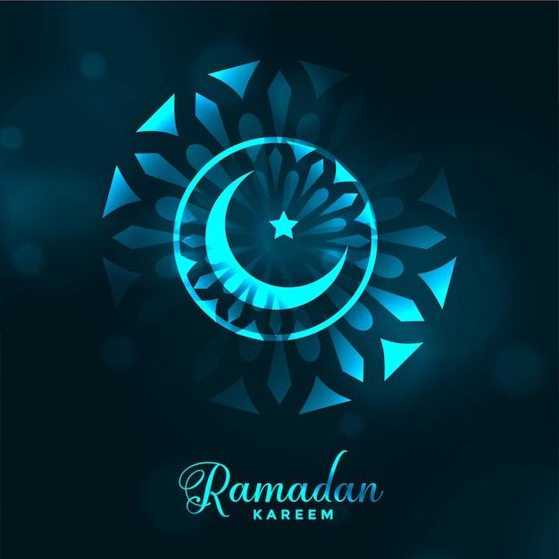 Aantrekkelijke ramadan kareem gloeiende maanachtergrond Gratis Vector