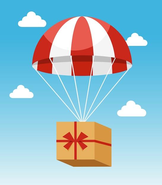 Aantrekkelijke rode en witte parachute uitvoering kartonnen doos levering op lichtblauwe hemelachtergrond Gratis Vector