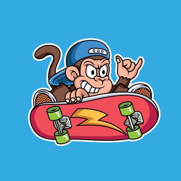 Aap die skateboardbeeldverhaal spelen Premium Vector