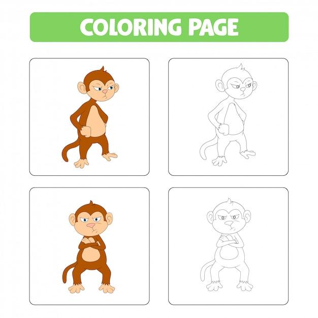 Aap leuke tekenfilm, kleurboek Premium Vector