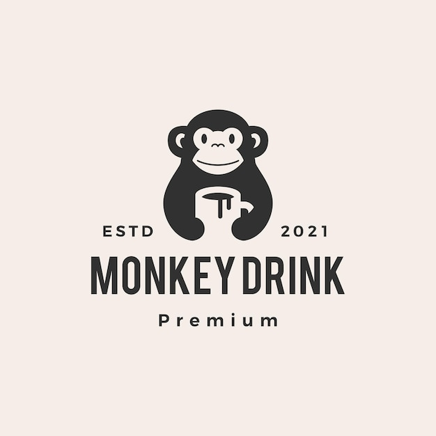 Aap mok drink koffie hipster vintage logo Premium Vector