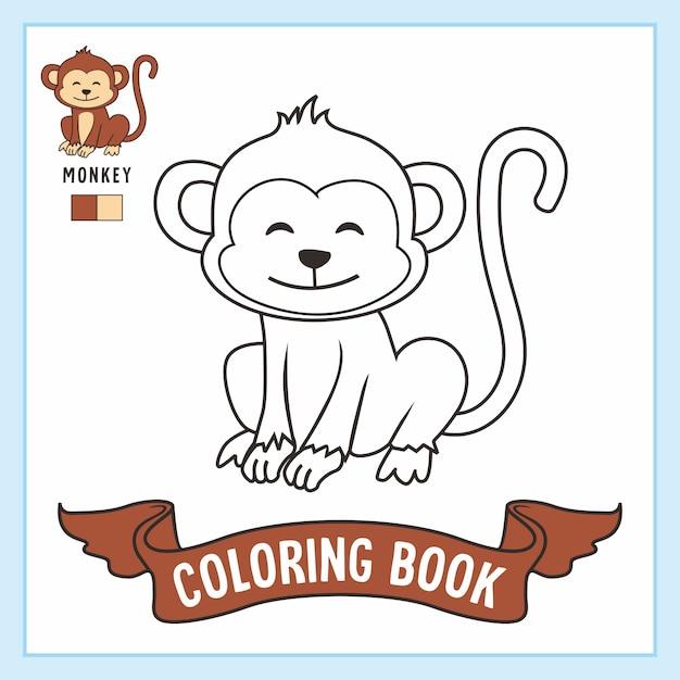 Aapdieren kleurplaten boek Premium Vector