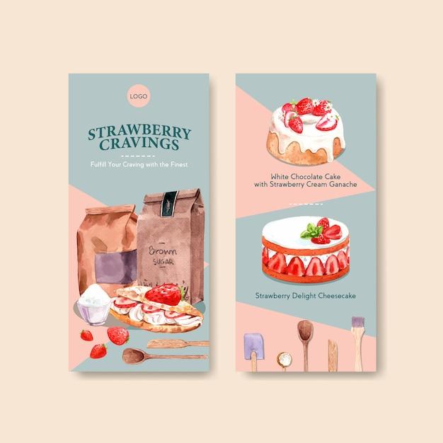 Aardbei bakken flyer sjabloonontwerp met pakket, cheesecake en adverteren aquarel illustratie Gratis Vector
