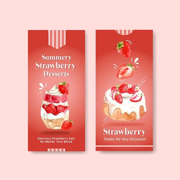 Aardbei bakken flyer sjabloonontwerp voor brochure met cheesecake en shortcake aquarel illustratie Gratis Vector