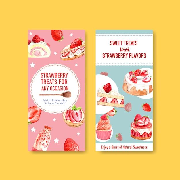 Aardbei bakken flyer sjabloonontwerp voor brochure met cupcake, jelly roll, shortcake en milkshake aquarel illustratie Gratis Vector