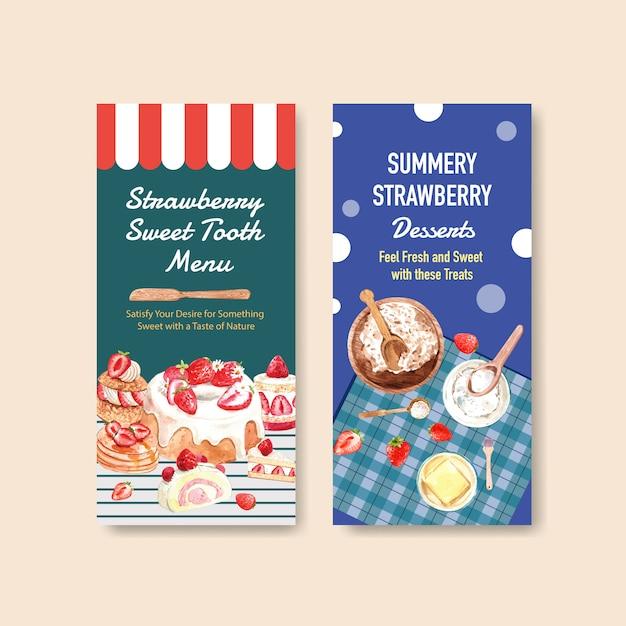 Aardbei bakken flyer sjabloonontwerp voor brochure met ingrediënt, smaak, cheesecake en wafels aquarel illustratie Gratis Vector