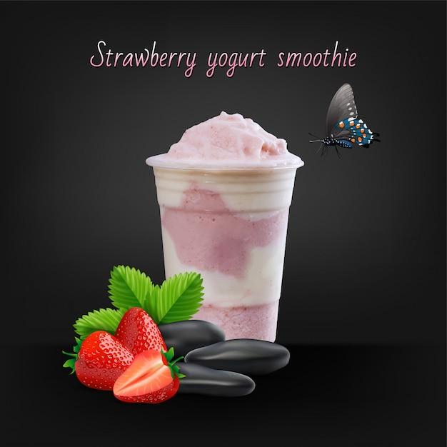 Aardbei smoothie of milkshake in kruik op zwarte achtergrond, gezond voedsel voor ontbijt en snack, vectorillustratie. Premium Vector