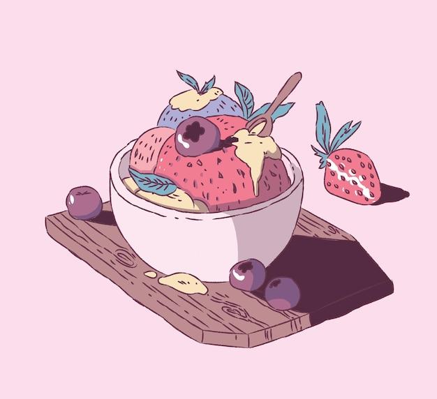 Aardbeienijs met bosbessen handstijl. ijs illustratie Premium Vector