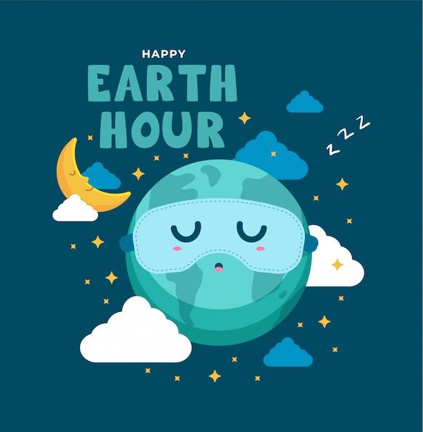 Aarde dag slapen illustratie Premium Vector