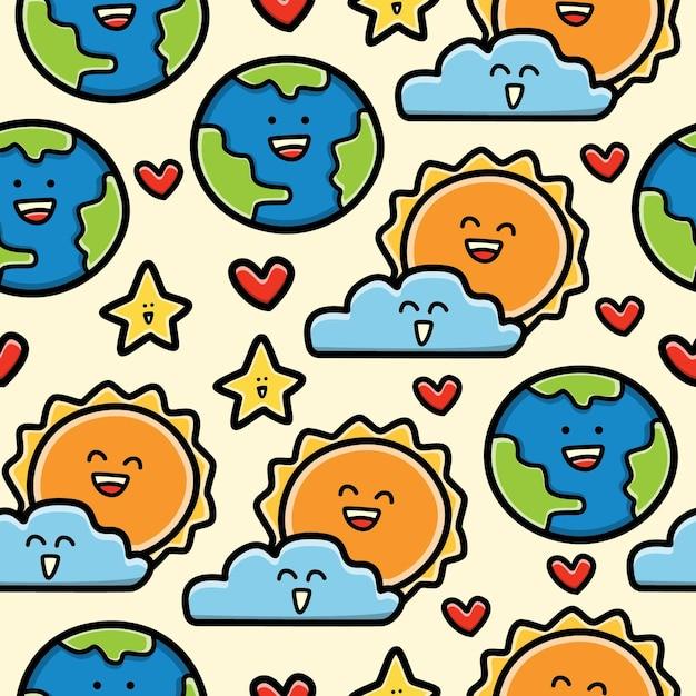 Aarde en zon cartoon doodle naadloze patroon ontwerp behang Premium Vector