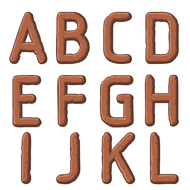 Aarde gesneden letters Premium Vector
