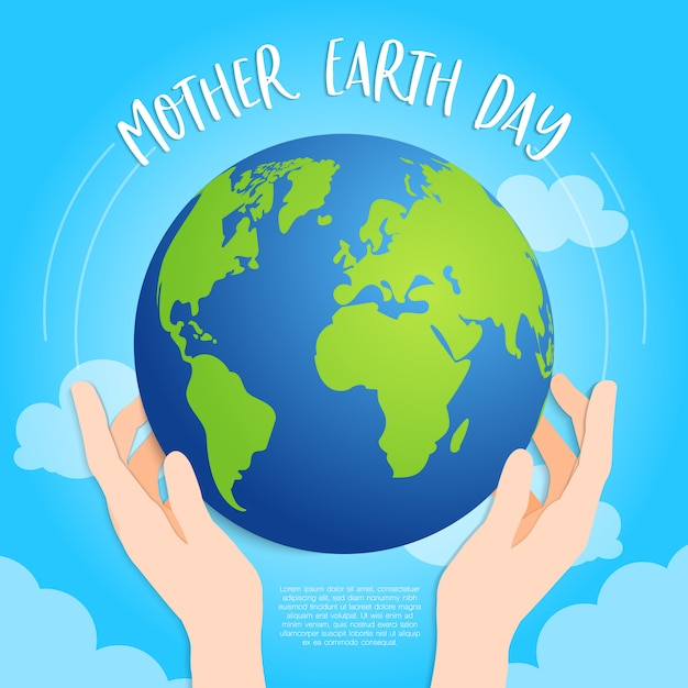 Aarde in handen op hemelsblauwe achtergrond Premium Vector
