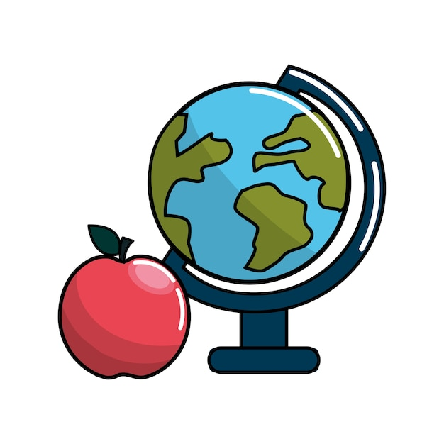 Aarde planeet bureau en apple pictogram Premium Vector