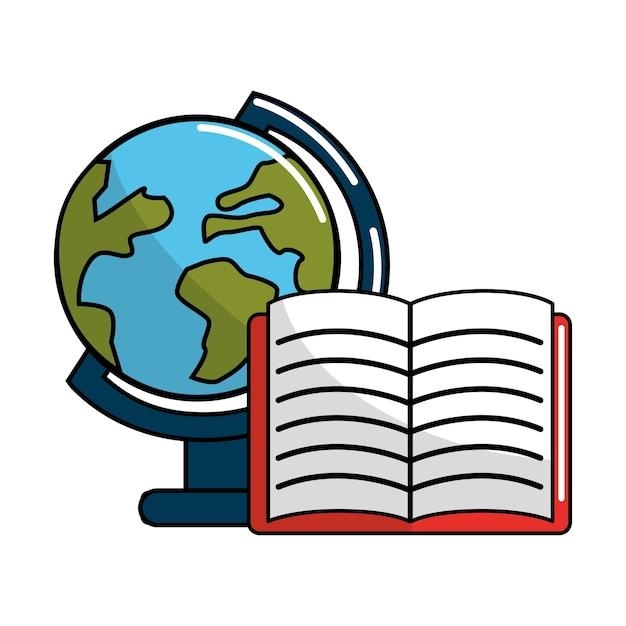 Aarde planeet bureau en laptop pictogram Premium Vector