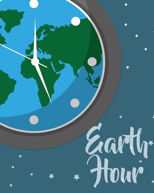 Aarde uur cartoon Premium Vector