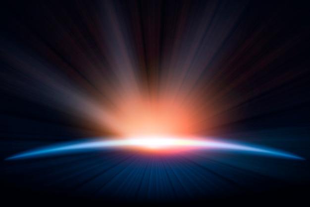 Aarde zonsopgang lichteffect Gratis Vector