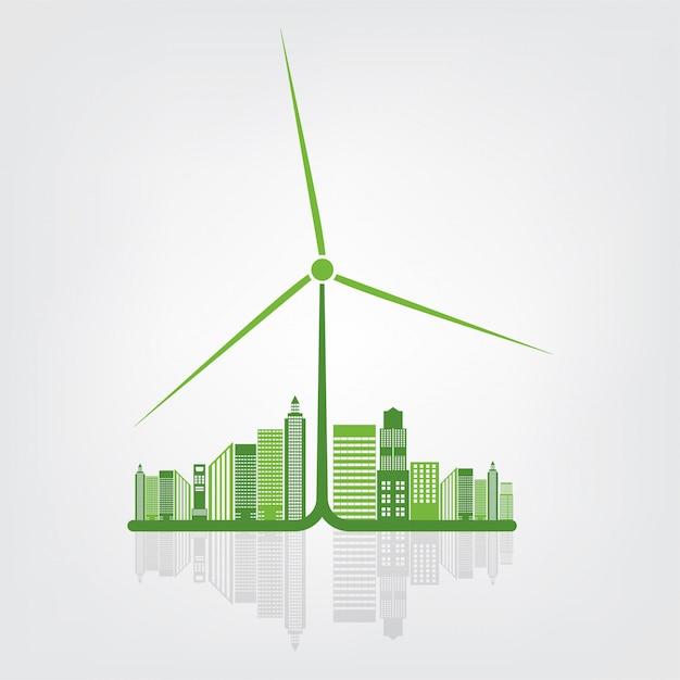 Aardesymbool met groene bladeren rond steden helpen de wereld met milieuvriendelijke ideeën Premium Vector