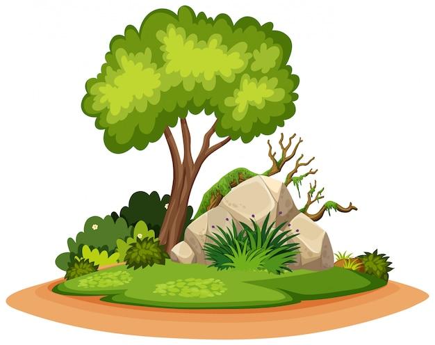 Aardlandschap van boom en rots in park Premium Vector