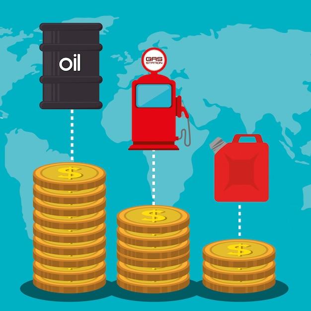 Aardolie-industrie en olieprijzen Gratis Vector