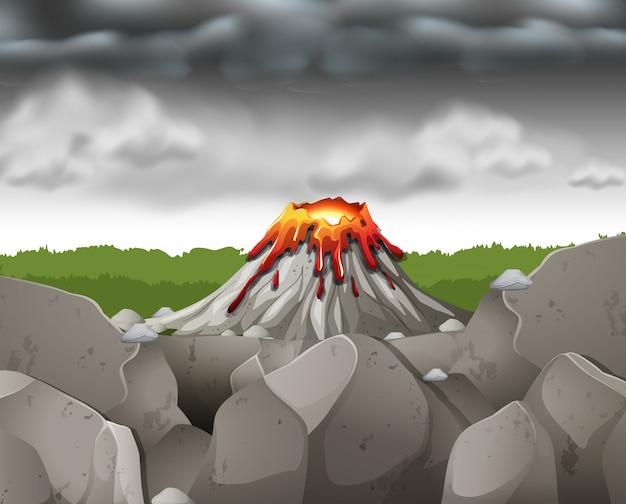 Aardscène met donkere hemel over vulkaan Gratis Vector