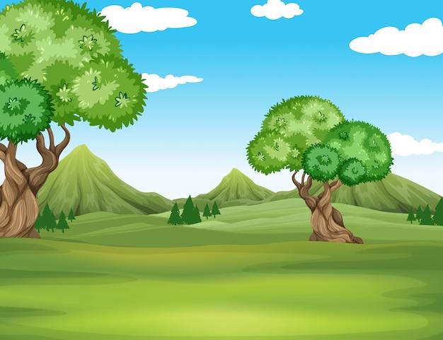 Aardscène met gebied en bomenachtergrond Gratis Vector