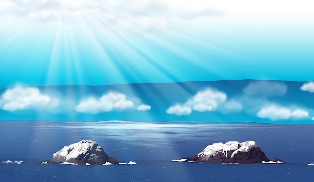 Aardscène met oceaan bij dag Gratis Vector