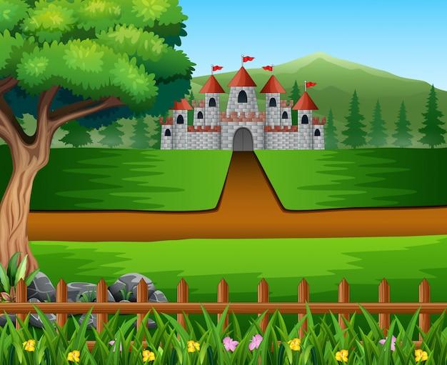 Aardscène met weg aan kasteel Premium Vector