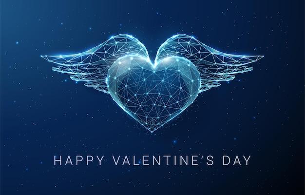 Ababstract blauw hart met vleugels. happy valentijnsdag kaart. laag poly-stijl ontwerp. abstracte geometrische achtergrond. wireframe lichte structuur. moderne grafische concept vectorillustratie Premium Vector