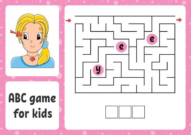 Abc doolhof voor kinderen. antwoord oog. rechthoek labyrint. activiteit werkblad. Premium Vector