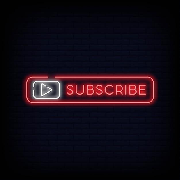 Abonnement knop neon uithangbord voor youtubers Premium Vector