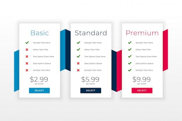 Abonnementsplannen en prijslijst websjabloon Gratis Vector