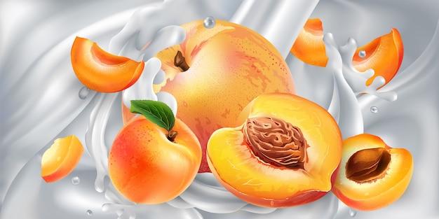 Abrikozen en perziken in een stroom melk of yoghurt. Premium Vector
