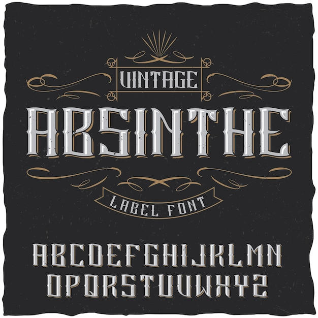 Absinthe-etiketlettertype en voorbeeldlabelontwerp Gratis Vector