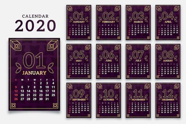 Abstract 2020 kalendersjabloon Gratis Vector