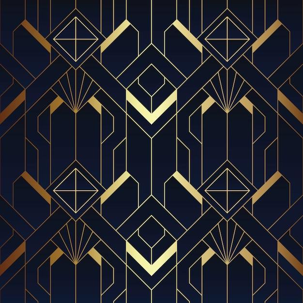 Abstract art deco naadloos blauw en gouden patroon Premium Vector
