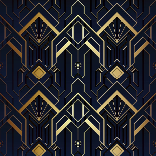 Abstract art deco naadloos blauw en gouden patroon Premium Vector