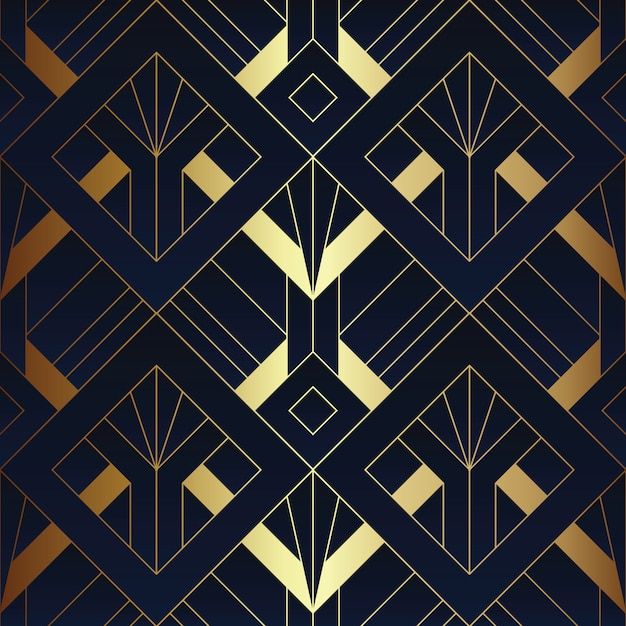 Abstract art deco naadloos patroon Premium Vector