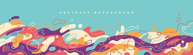 Abstract bannerontwerp met kleurrijke vloeibare vormen. Premium Vector