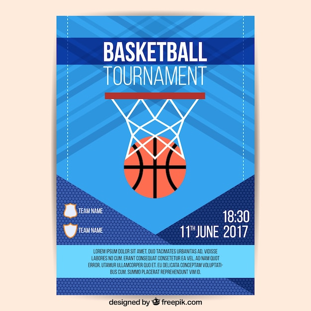 Abstract basketbaltoernooi brochure met mand Gratis Vector